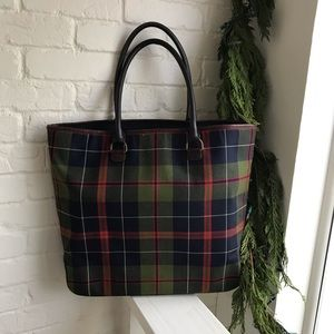 J Crew Wool & Leather Plaid Tote perfect 4 Holiday